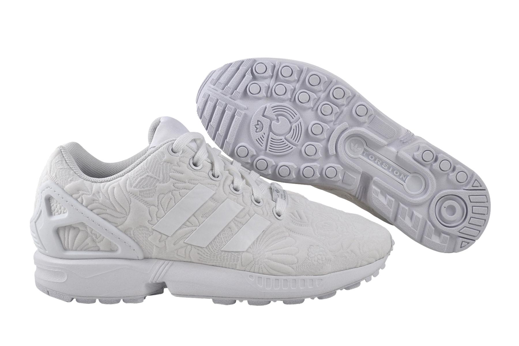 Dettagli su Adidas Zx Flux Donne White Black Scarpa da Ginnastica Bianca S76590