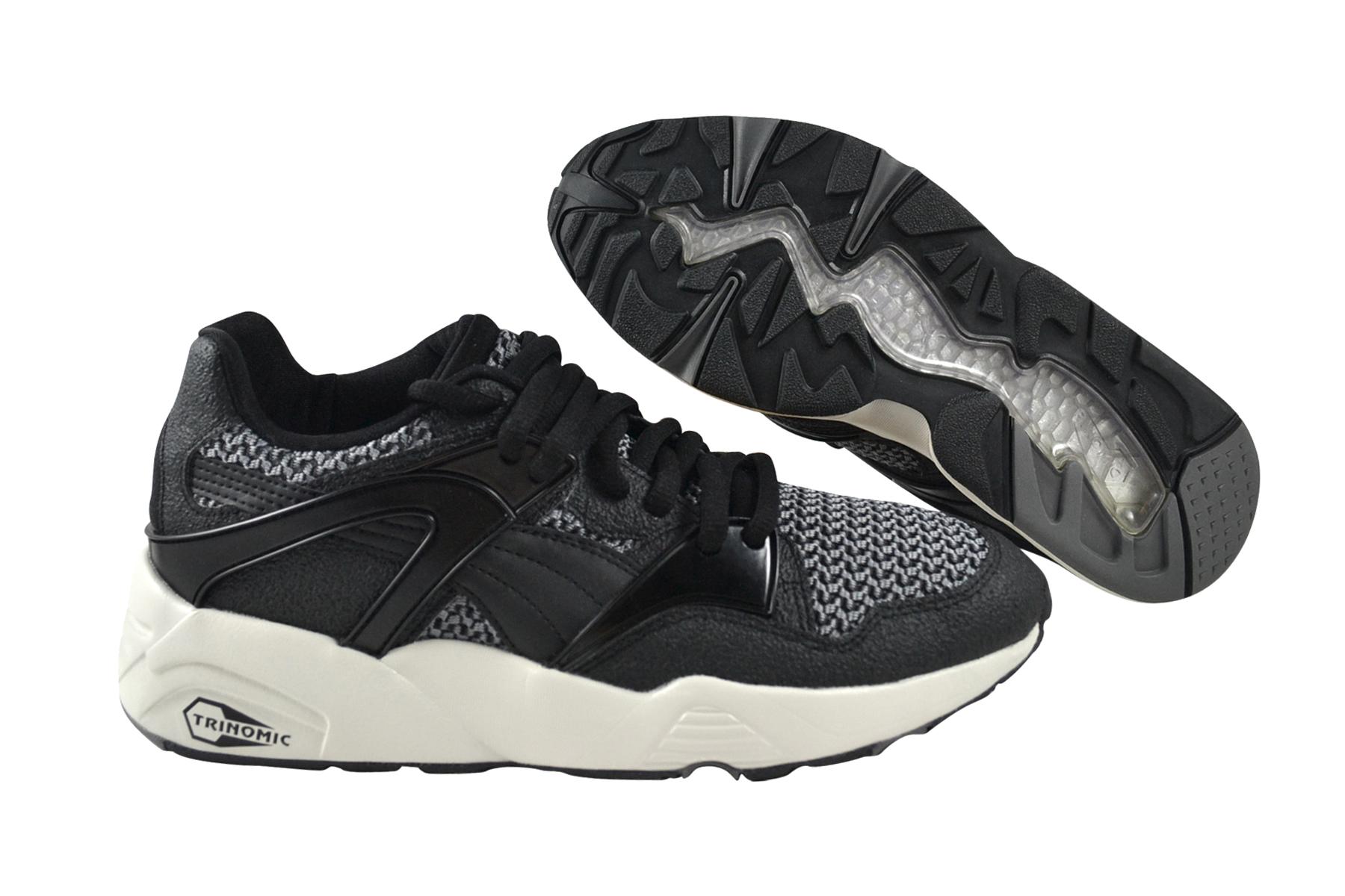 Detalles de Puma Fuego Knit Trinomic Black Zapatillas de Correr Negro 359996 03